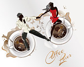 Abstract coffee background with a couple in passionate Latin American dances. Hand drawn poster background.