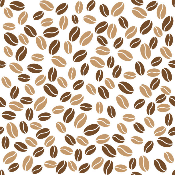 abstract coffee beans pattern white background - coffee stock illustrations