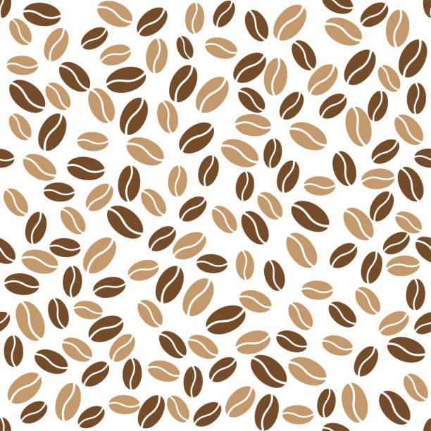 초록 커피 콩 흰색 배경 패턴 - coffee stock illustrations