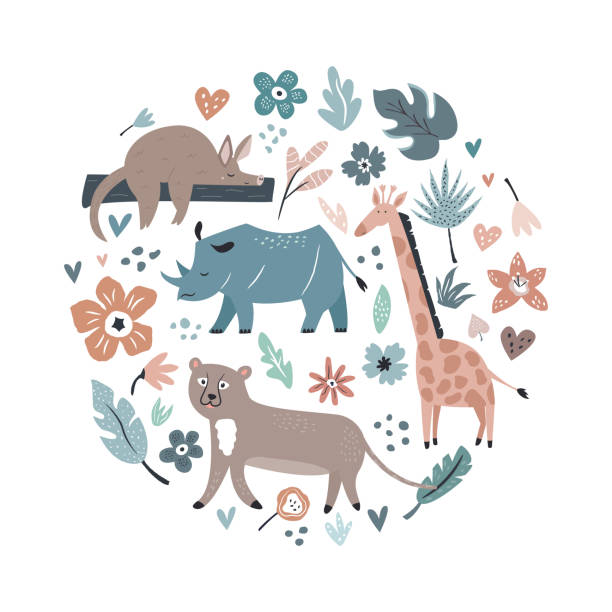 抽象コラージュ、動物や装飾的な要素、花とデザイン。トラベルグリーティングカード、プリント t シャツ - 野生動物旅行点のイラスト素材/クリップアート素材/マンガ素材/アイコン素材