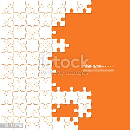 Abstract color background made of Jigsaw puzzle pieces. Vector illustration.
