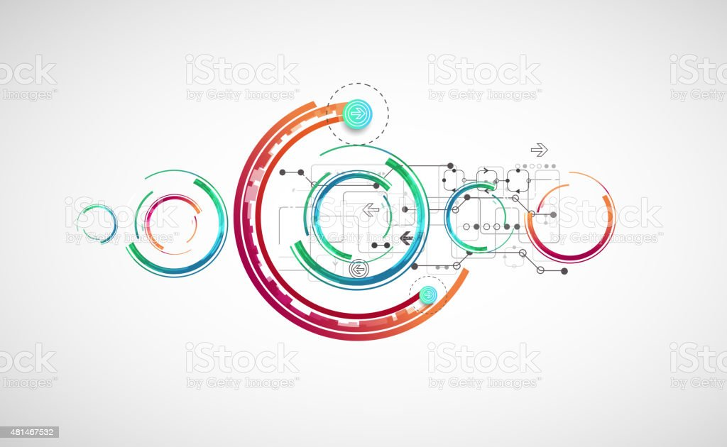 Abstract color background with various technological elements. vector art illustration