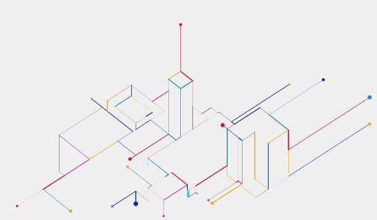 abstract color geometric line elements digital tech background for brochure