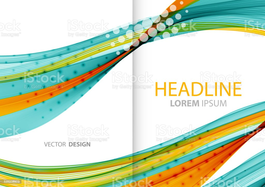 Abstract color lines background. Template brochure design vector art illustration