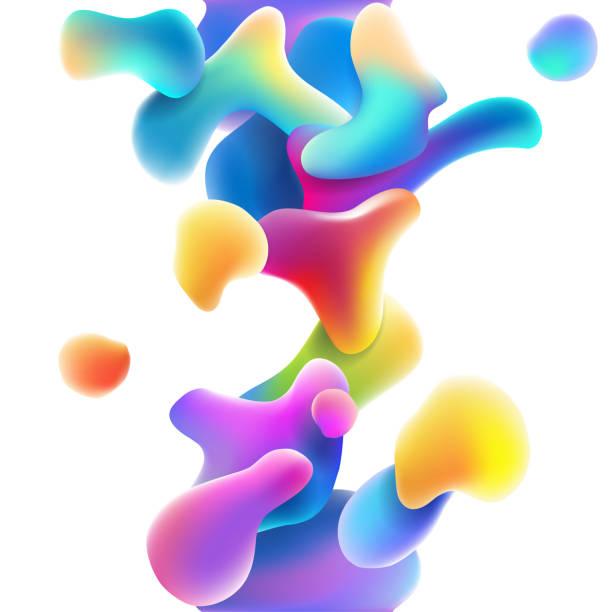 bildbanksillustrationer, clip art samt tecknat material och ikoner med abstrakta färg flytande former - vätska