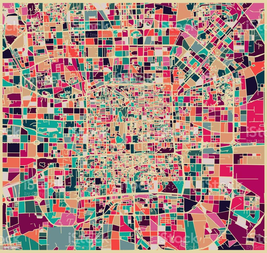 padrão fixo de cor abstrata, mapa de arte da cidade de Pequim - ilustração de arte em vetor