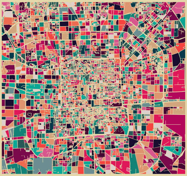 abstract color lump pattern,art map of beijing city - architecture illustrations stock illustrations