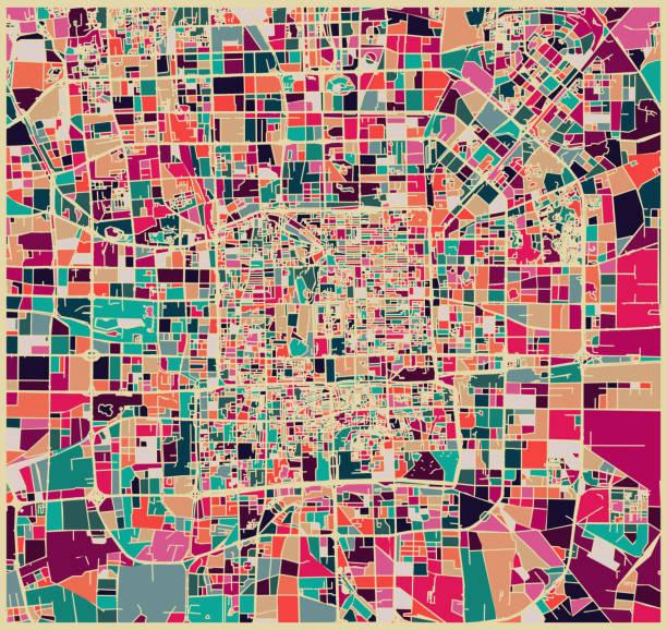 ilustrações, clipart, desenhos animados e ícones de padrão fixo de cor abstrata, mapa de arte da cidade de pequim - ilustrações de arquitetura