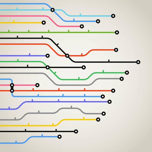 illustrations, cliparts, dessins animés et icônes de plan de métro abstrait couleur arrière-plan - voie ferrée