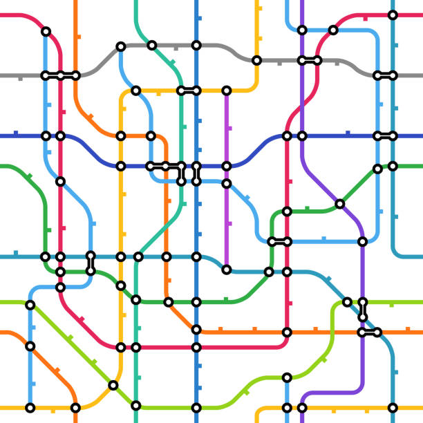 abstract color metro scheme seamless background - railroad track stock illustrations, clip art, cartoons, & icons