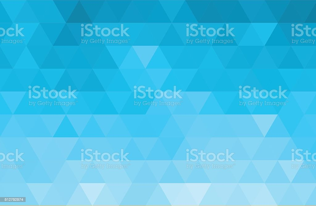 Abstract color mosaic background.  Blue triangle pattern vector art illustration