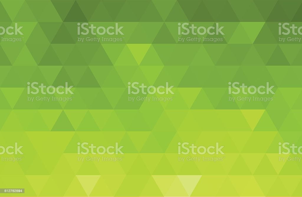 Abstract color mosaic background.  Green triangle pattern vector art illustration