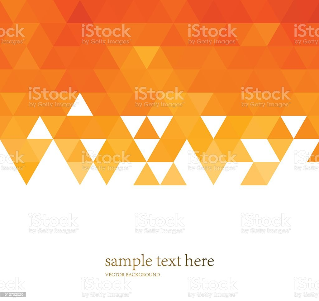 Abstract color mosaic background. Orange triangle pattern vector art illustration