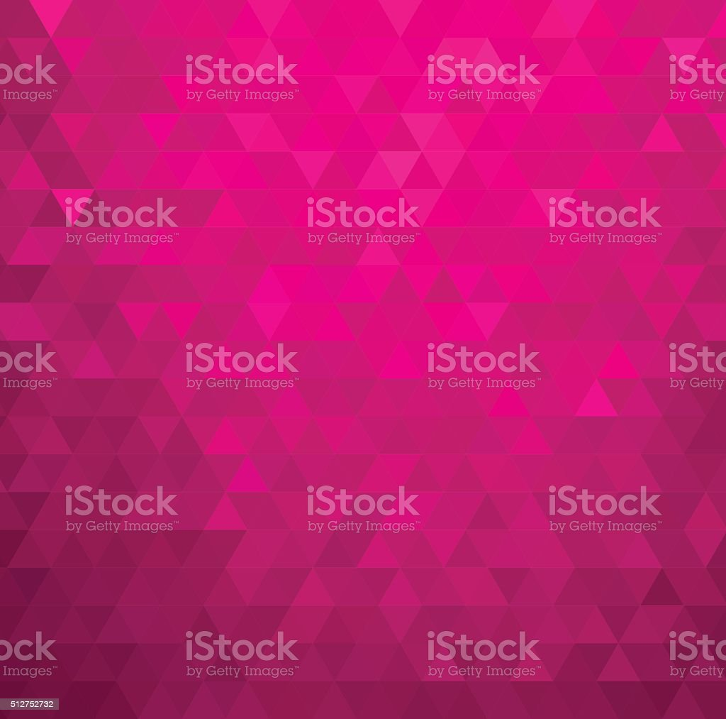 Abstract color mosaic background.  Pink triangle pattern vector art illustration