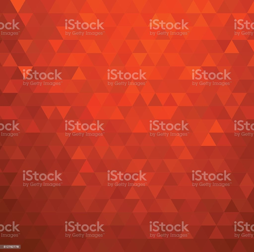 Abstract color mosaic background.  Red triangle pattern vector art illustration