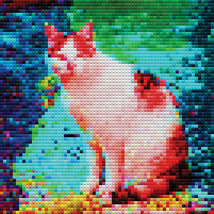 abstract color mosaic check cat pattern background