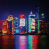 abstract color mosaic check city night pattern background for design