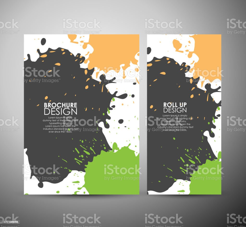 Abstract Color Paint Splashes Brochure Business Design Template Royalty Free