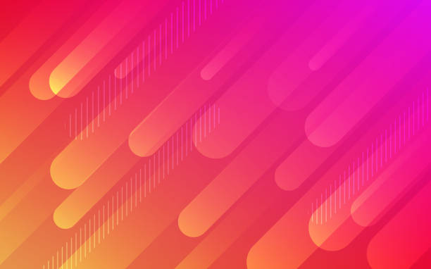 Abstract color pattern of neon red orange liquid gradient lines background with modern geometric fluid shapes in dynamic motion - illustrazione arte vettoriale
