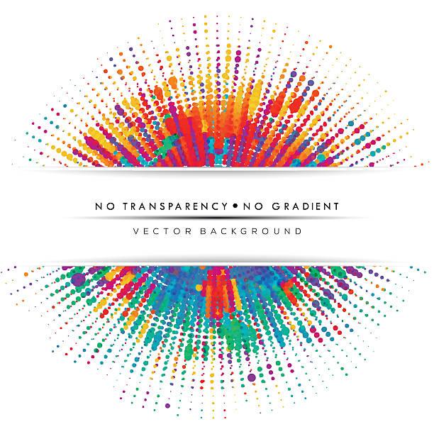 Abstract color splash, dotted lines background, banner. vector art illustration