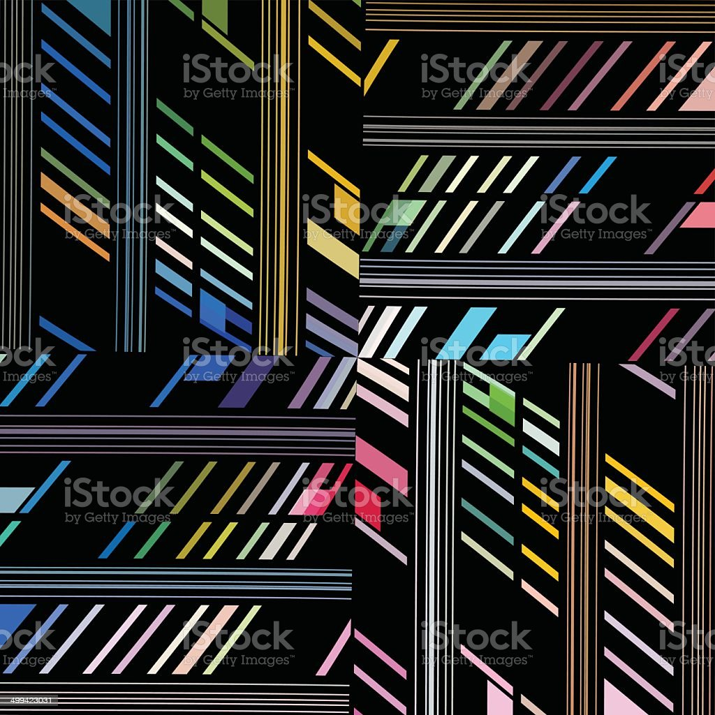 abstract color stripe pattern with black background vector art illustration