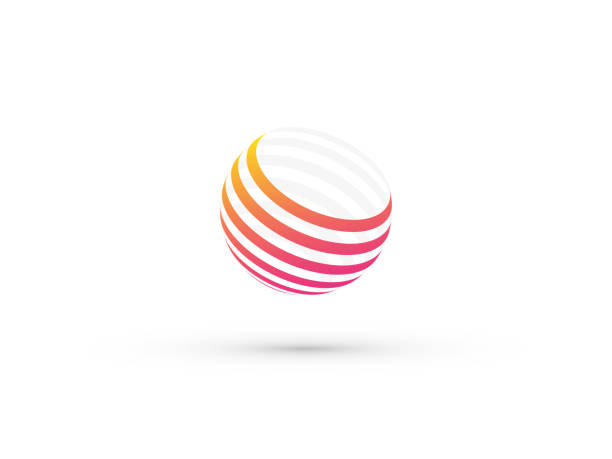 abstract color striped ball vector art illustration