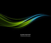 Vector Abstract shiny color blue and green wave design element on dark background. Science or technology design