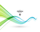 Abstract color wave design element. Blue and green wave