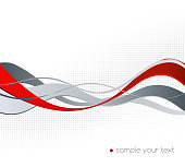 Abstract red and gray color wave design element. Red wave