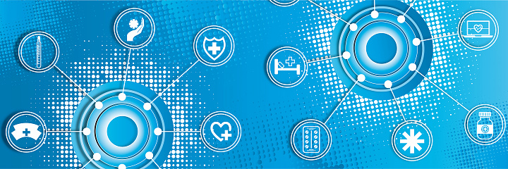 Abstract colored medical background with icons.