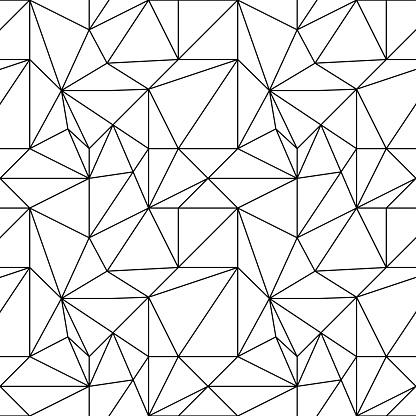 Abstract Colored Seamless Pattern Black And White Polygonal Wallpaper - Immagini vettoriali stock e altre immagini di Astratto