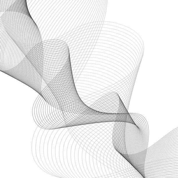 stockillustraties, clipart, cartoons en iconen met abstract gekleurde golf element voor ontwerp. gestileerde lijn kunst achtergrond. vectorillustratie. gebogen golvende lijn, soepele strepen. - maaswerk