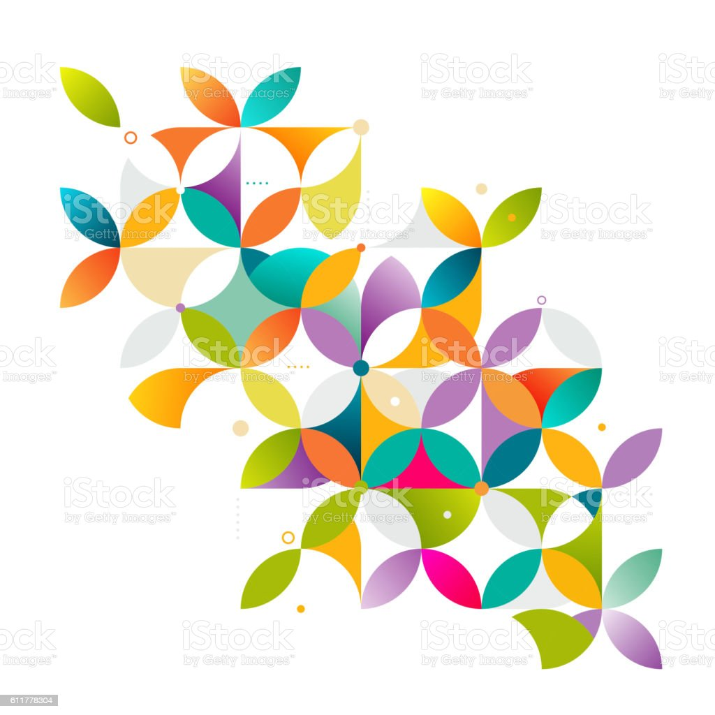 Abstract colorful and creative geometric with a variety of geometric. vector art illustration