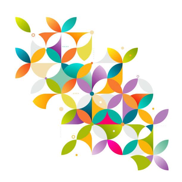 ilustrações de stock, clip art, desenhos animados e ícones de abstract colorful and creative geometric with a variety of geometric. - mosaicos flores