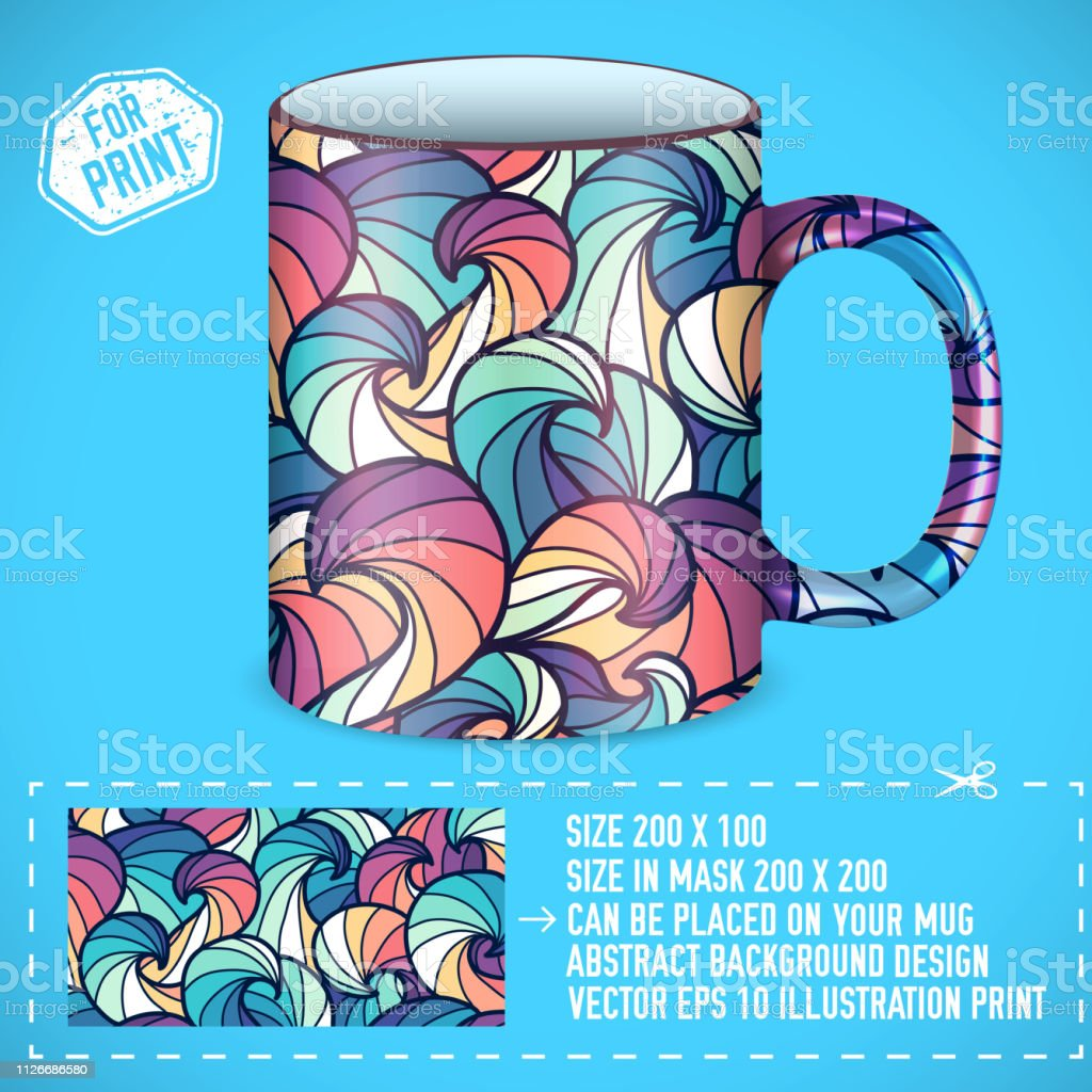 abstract colorful art design for print on a cup. Vector illustration...