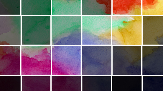 Abstract colorful art illustration - Watercolor tile palette.