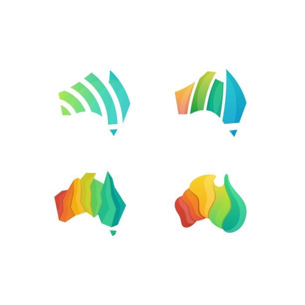 ilustraciones, imágenes clip art, dibujos animados e iconos de stock de abstracto colorido australia idea ilustración vector diseño plantilla - australia