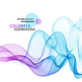 Abstract colorful wave background. Vector transparent smoke lines.