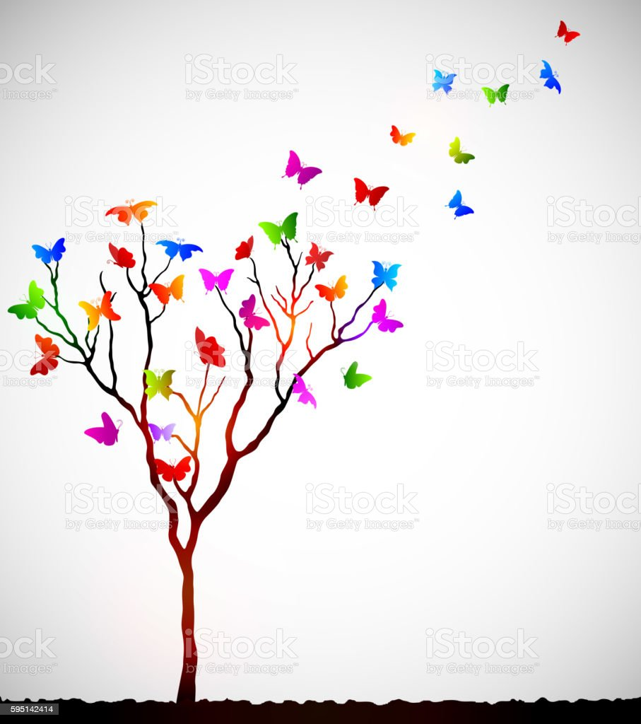 Abstract colorful background with butterflies vector art illustration