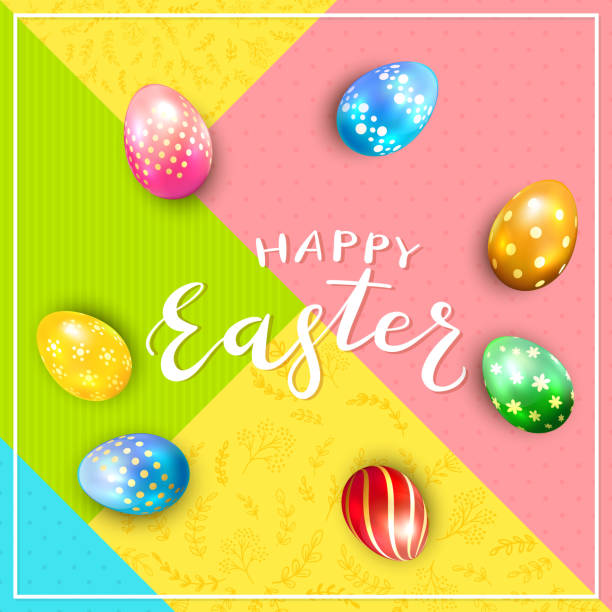 abstract colorful background with text happy easter and eggs - stripped pattern stock illustrations, clip art, cartoons, & icons