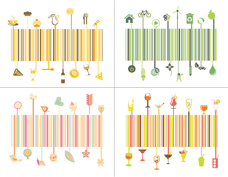 Abstract colorful barcode design idea set of nature,ecological,food, restaurant concept.