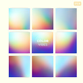 Set of square abstract soft colorful vector gradient blurred backgrounds. Modern trendy concept design for mobile apps, screens, banners, posters