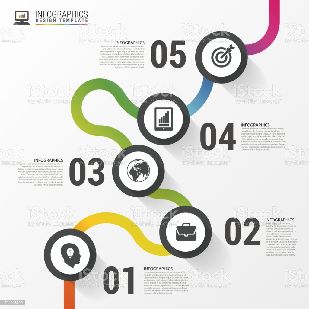 Abstract colorful business path. Timeline infographic template.Vector vector art illustration