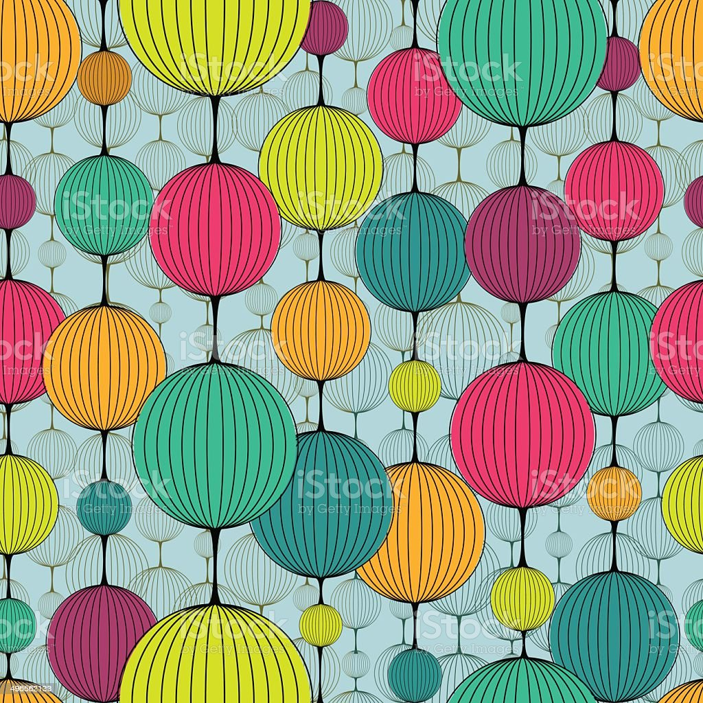 Abstract colorful chaplet seamless pattern vector art illustration