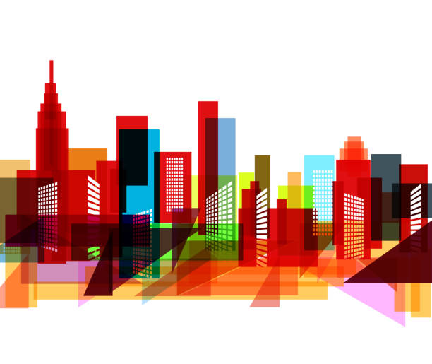 abstract colorful city pattern - architecture silhouettes stock illustrations