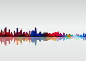 abstract colorful city skyline pattern background for design.(ai eps10 with transparency effect)
