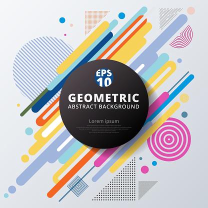 Abstrakta Färgstarka Färg Cirkel Geometriska Mönsterdesign Och Bakgrund-vektorgrafik och fler bilder på Abstrakt