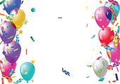 Abstract colorful confetti and balloons background. Balloons and confetti isolated on the white. Vector holiday illustration.