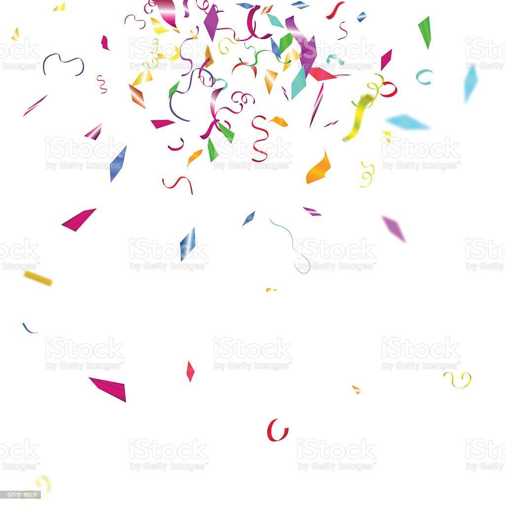 紙吹雪の抽象的なカラフルな背景白に隔てられたます - お祝いのベクター