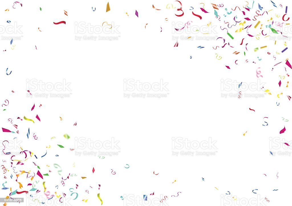 Abstract colorful confetti background. Isolated on the white background. vektör sanat illüstrasyonu
